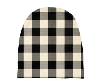 Black And White Plaid Baby Beanies 0-6 Months , Printed Baby Hat, Infant Beanie, Infant Hat, Baby Shower Gift, Baby Gift