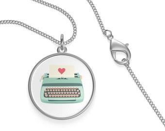 Teal Typewriter Single Loop Necklace