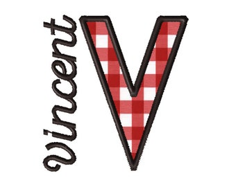 Made To Order - Letter V, CUSTOM Applique Embroidery File: 5x5