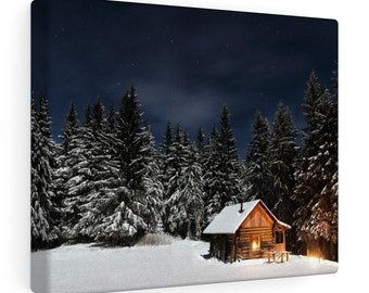10x8 Canvas Art: Winter Cabin