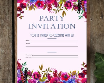 PDF Printable Invitations: Berries and Navy