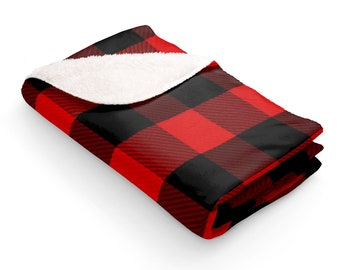 Sherpa Fleece Blanket: Red Plaid