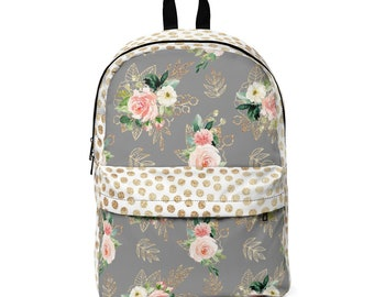 Classic Backpack: Gray and Gold Floral