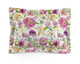 Light Floral Microfiber Pillow Sham