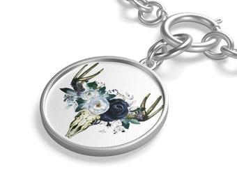 Navy Floral Skull Chunky Chain Bracelet