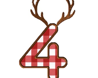8x8 Antlers Numbers Applique Embroidery File: Number 4