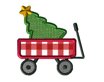 Christmas Wagon Applique Embroidery File: 5x5, PES Format