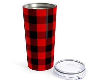 20oz Stainless Steel Tumbler: Red Plaid