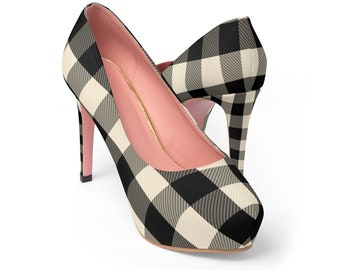 Black And White Checkered Platform Heels