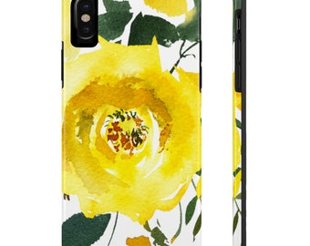Yellow Floral Phone Case, Case Mate Tough Phone Cases, Custom Phone Cases, iPhone Case, Samsung Phone Case, Galaxy Case