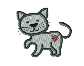Cat Applique Embroidery File: 5x5, PES Format