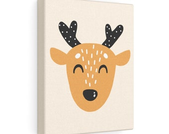 Happy Deer 8x10 Canvas Art, Home Decor, Wall Art, Canvas Art, Nursery Decor, Living Room Decor, Bedroom Decor, Stretched Canvas