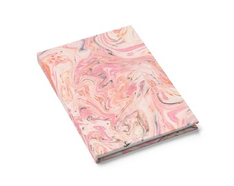 Ruled Line Journal: Pink Marbled Notebook