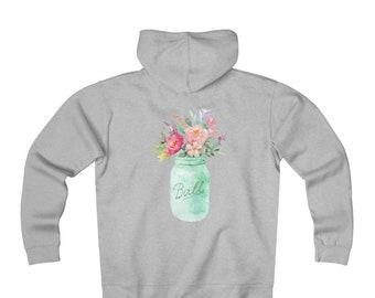 Fleece Zip Hoodie: Floral Mason Jar