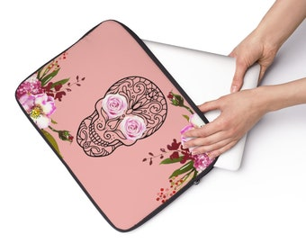 Floral Sugar Skull Laptop Sleeve