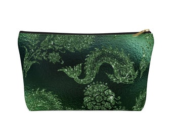 Makeup Bag: Green Glitter