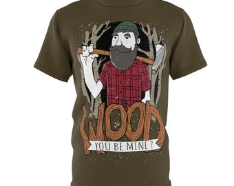 Wood You Be Mine, Unisex Aop Cut  Sew Tee