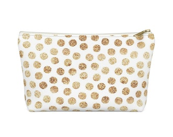 Makeup Bag: Gold Dots