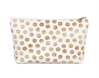 Makeup Bag: Gold Dots
