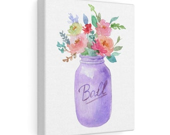 8x10 Canvas Art: Purple Mason Jar