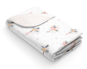 Floral Arrows Sherpa Fleece Blanket