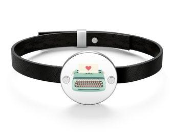 Teal Typewriter Leather Bracelet
