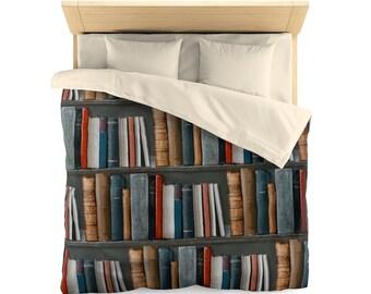 Bookshelf Microfiber Duvet Cover