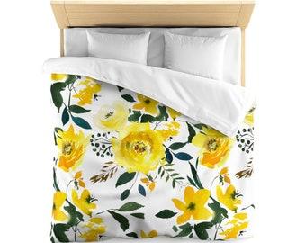 Yellow Floral Microfiber Duvet Cover