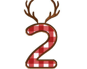 8x8 Antlers Numbers Applique Embroidery File: Number 2