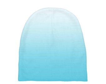 Light Blue Ombre Baby Beanies, Printed Baby Hat, Infant Beanie, Infant Hat, Baby Shower Gift, Baby Gift