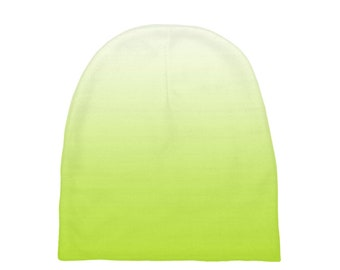 Lime Green Ombre Baby Beanies, Printed Baby Hat, Infant Beanie, Infant Hat, Baby Shower Gift, Baby Gift