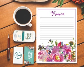 Customizable Stationary: June Peony Pattern