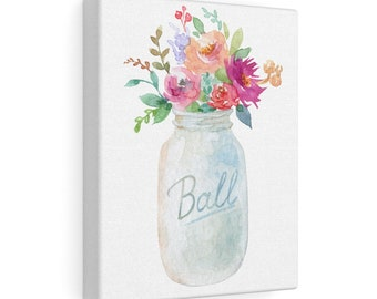 8x10 Canvas Art: White Mason Jar