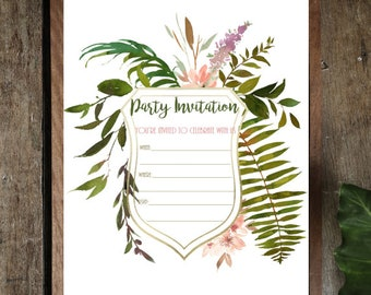 PDF Printable Invitations: Forest Shield