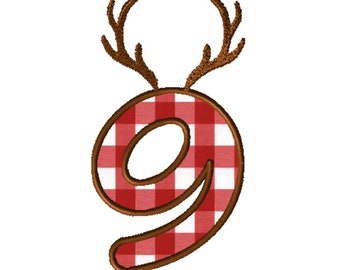 8x8 Antlers Numbers Applique Embroidery File: Number 9
