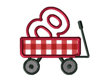 Christmas Wagon No. 8 Applique Embroidery File: 5x5, PES Format