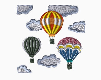 4x4 Embroidery File: Hot Air Balloon, Choose Your Size and Format