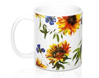 Sunflowers, 11oz Mug, Custom Coffee Mug, Tea Mug, Custom Gift, Gift for Her, Stocking Stuffer, Home Decor, Cups, Mugs