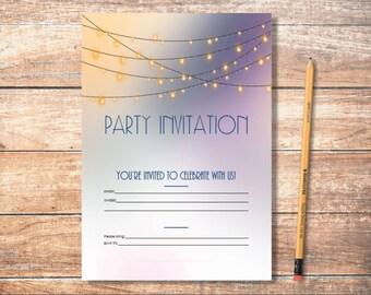 PDF Printable Invitations: String Lights