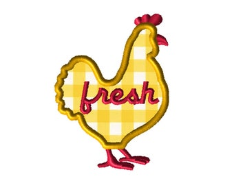 Farm Fresh Chicken Applique Embroidery File: 5x5, PES Format