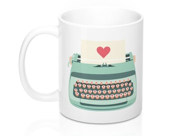 Teal Typewriter Mug, 11oz Mug, Custom Coffee Mug, Tea Mug, Custom Gift, Gift for Her, Stocking Stuffer, Home Decor, Cups, Mugs