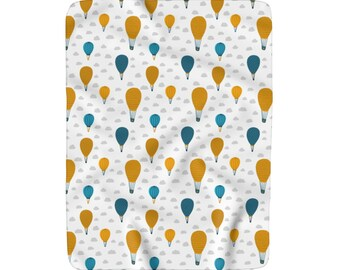 Hot Air Balloons Blanket, Sherpa Fleece Nursery Blanket, Large Baby Blanket, Custom Nursery Blanket, Large Crib Blanket, Baby Shower Gift