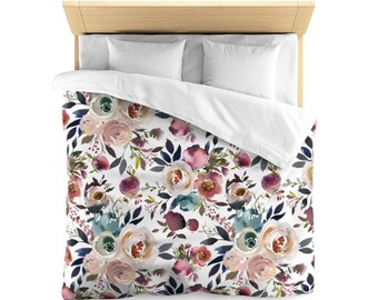 Microfiber Duvet Cover Dusty Blue And Misty Rose, Duvet Cover, Custom Bedding, Floral Bedding, Custom Printed