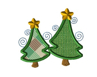 Twin Christmas Trees Applique Embroidery File: 5x5, PES Format