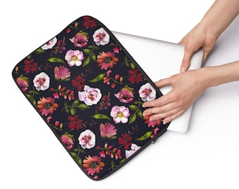 Blush Pink Coral Black Laptop Sleeve