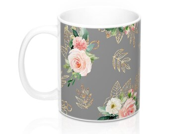 Gray Floral, 11oz Mug, Custom Coffee Mug, Tea Mug, Custom Gift, Gift for Her, Stocking Stuffer, Home Decor, Cups, Mugs
