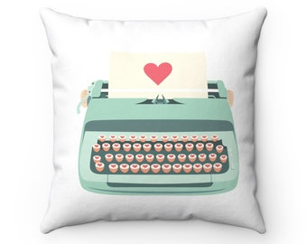 Decorative Pillows: Teal Typewriter