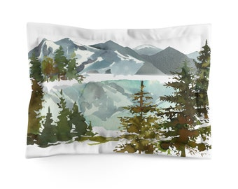 Watercolor Mountains Microfiber Pillow Sham