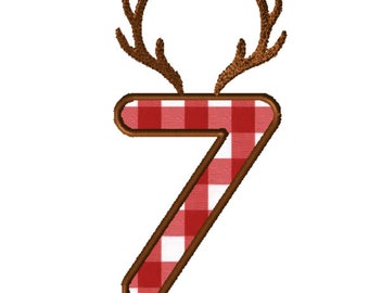 8x8 Antlers Numbers Applique Embroidery File: Number 7