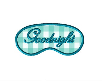 Sleep Mask Applique Embroidery File: 5x7, PES Format